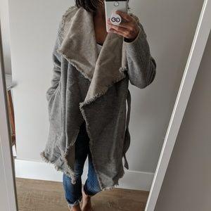 Aritzia Grey Wool Blanket Coat with Waist Tie